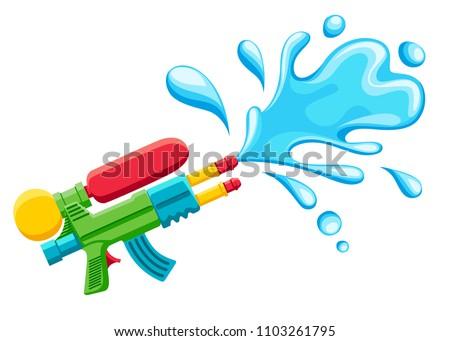 Water gun illustration. Plastic summer toy. Colorful design for children. Gun with water splash. Flat vector illustration isolated on white background.