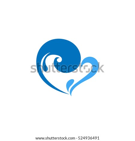 water heart love logo design