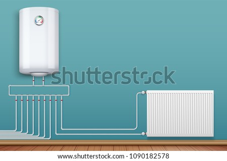 Water heater Boiler on wall and Heating radiator in room with plastic tubes. Home appliances for comfort. Modern Central heating system equipment. Water and steam model for wall. Vector Illustration