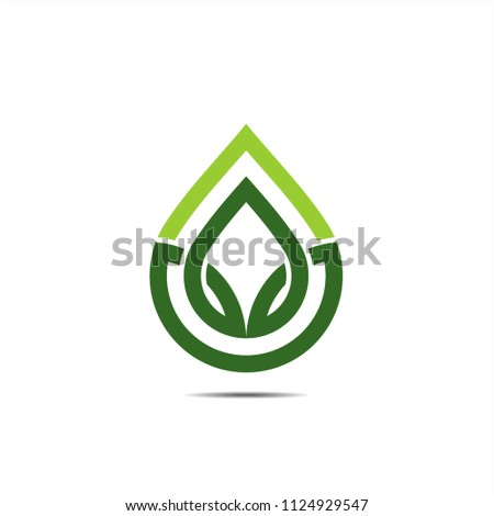 Water icon monoline, greenleaf with dropwater shape logo icon