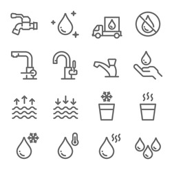 Water Icon Set. Contains such Icons as Tap, Faucet, Hot Water, No Water, Delivery and more. Expanded Stroke