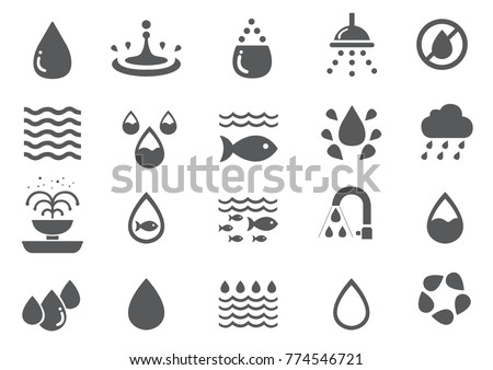 water icon set   fish  recycle
