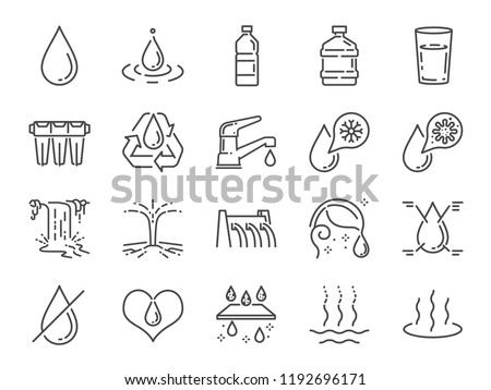 Water icon set. Included icons as water drop, moisture, liquid, water bottle, litter and more.