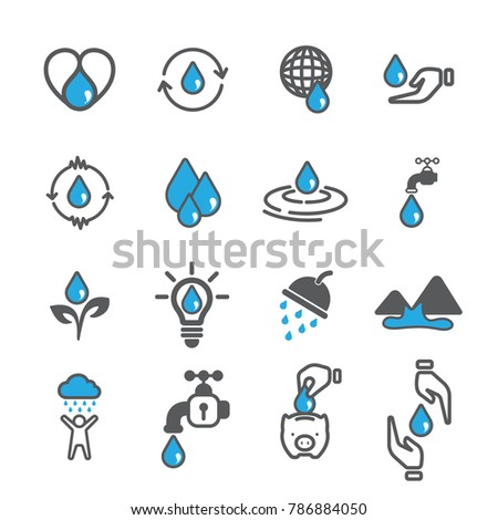 Water icon vector,Ecology icons vector design,Saving water icons.