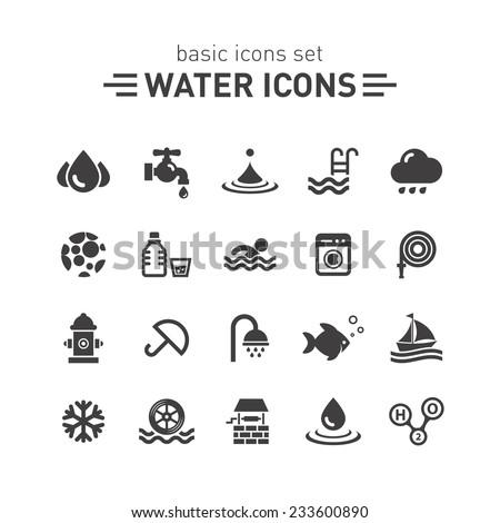 Water icons set.
