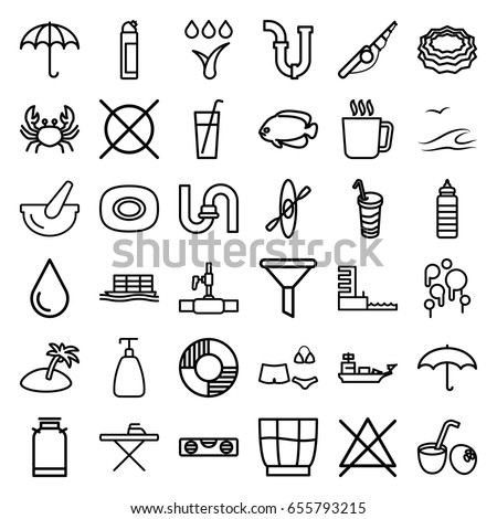 water icons set set of 36