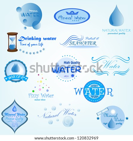 Water Labels - stock vector