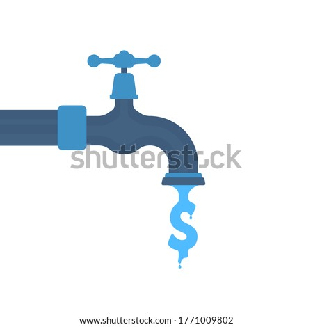 water like dollar sign flowing out tap. concept of leaky faucet with stopcock or money deficiency in world or drain crane. flat simple trend logo graphic design element isolated on white background Foto d'archivio ©
