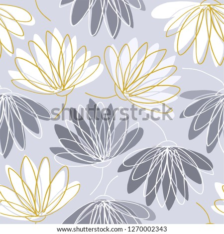 Water lilies hand drawing in gray, beige and white colors seamless pattern on gray background. in gray, beige and white colors seamless pattern on gray background.