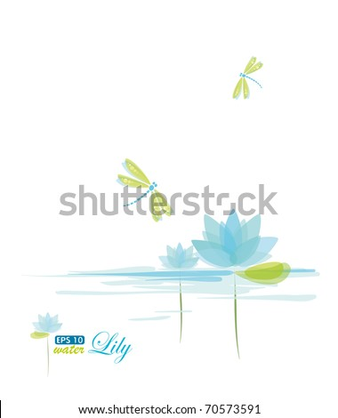 Water Lily and dragonfly, nature background, eps-10
