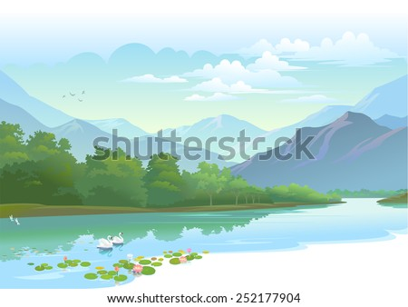 water lily and swan in a