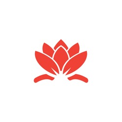 Water Lily Red Icon On White Background. Red Flat Style Vector Illustration