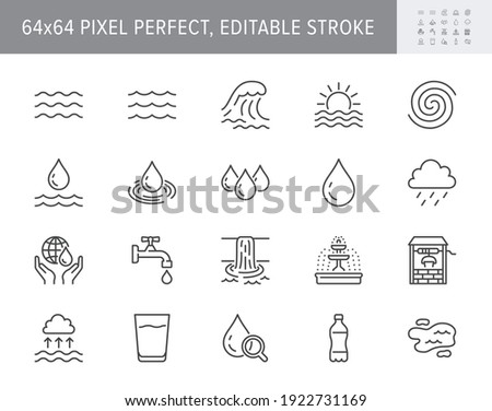 Water line icons. Vector illustration include icon outline plastic bottle, sea waves, water well, typhoon, tsunami, sunset, tornado pictogram for aqua resources. 64x64 Pixel Perfect Editable Stroke.