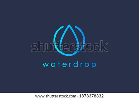 Water Logo. Blue Water Drop Linked with Circle Line Around isolated on Blue Background. Usable for Business, Science, Healthcare, Medical and Nature Logos. Flat Vector Logo Design Template Element.