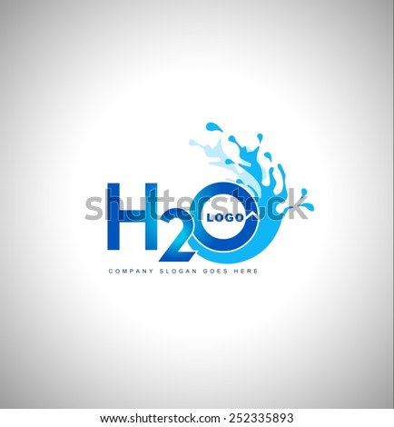 Water logo vector.Creative blue water splash with drops