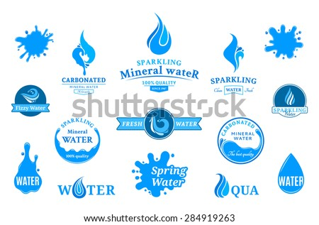 water logos  label  icons and