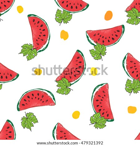 Water Melon Hand drawn Seamless Pattern Vector Illustration #479321392