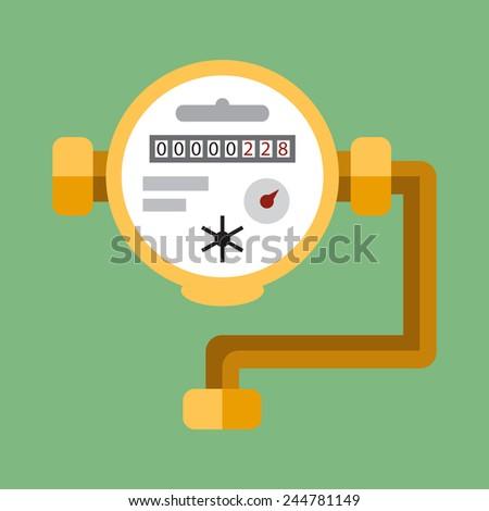 Water meter. Vector flat icon