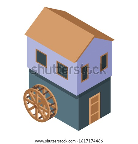 water mill icon isometric of