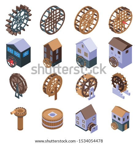 water mill icons set isometric