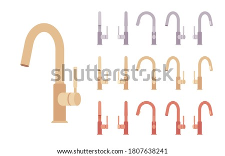 Water mixer set. Kitchen or bathroom valve controlling release of a hot and cold liquid, sink faucet. Vector flat style cartoon illustration isolated on white background, different views, colors Foto d'archivio ©