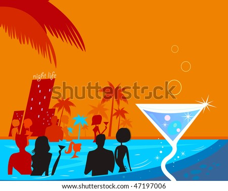 Water night party: People in pool & fresh Martini drink. Beach party people in night pool. Vector illustration in retro style. Beautiful blue - red vibrant colors! - stock vector
