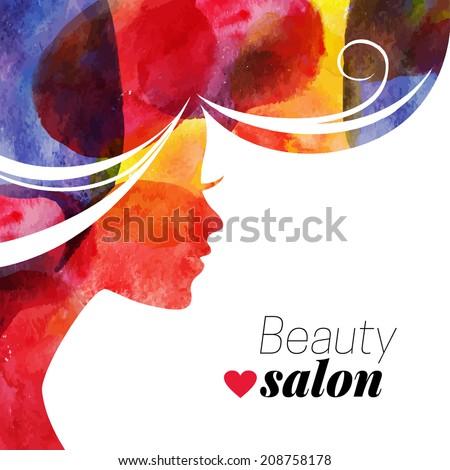 Water?olor beautiful girl. Vector illustration of woman beauty salon