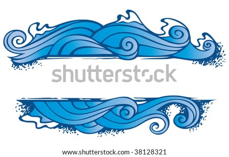 Water, one of the four elements of nature in the shape of ornamental frame, vector illustration