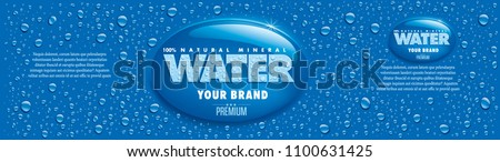 water packaging label with many water drops on blue background