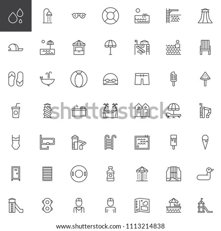 Water park outline icons set. linear style symbols collection, line signs pack. vector graphics. Set includes icons as Aqua park, Shower, Sunglass, Pipe slides attraction, Swimming pool, Sunbed, Bar