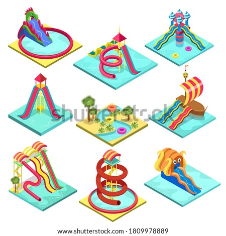 Foto mural Water park slide set. Isolated isometric water pool, slide, tube, child amusement attraction collection. Aqua park holiday leisure activity icons. Summer vacation recreation fun vector illustration