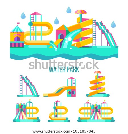 Water park. Water slides, summer fun on the water. Summer vacation, tropical fruits, nature, recreation. Vector clipart.