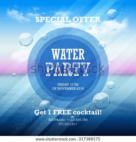 water party flyer with graphic