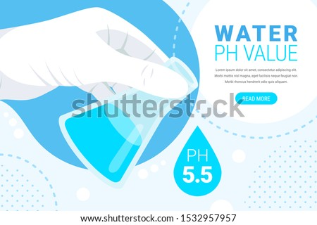 Water ph value analysis concept. Laboratory beaker in hand, water drop with text ph 5.5 and button. Science laboratory research and chemistry web banner. Flat vector illustration