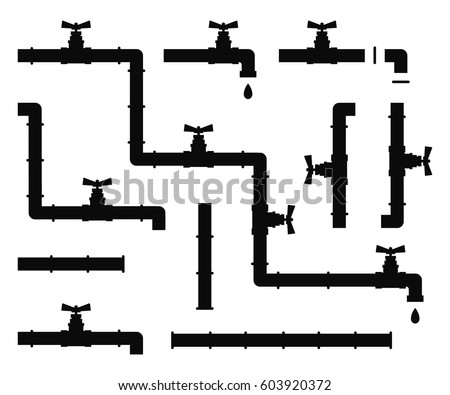 Water pipes and taps vector silhouette