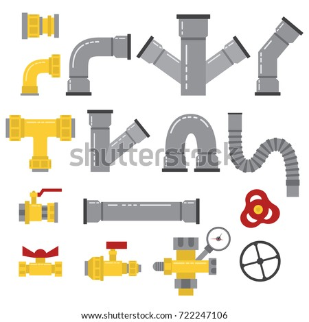 Water pipes, connectors, valves, fittings and others elements isolated on a white background. Vector flat icons set of pipeline details for plumbing works.
