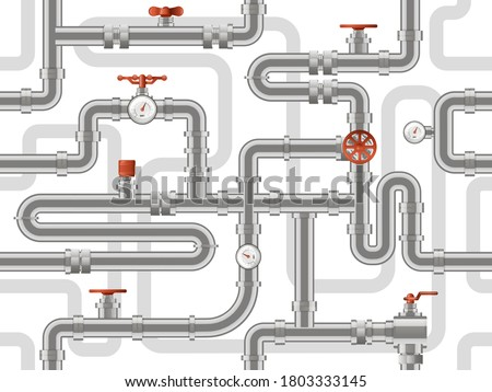 Water pipes system. Metal pipelines construction pattern, industry pipes with counters valves, pipelines construction vector background. Pattern sewerage construction, pipeline plumbing illustration Stock photo ©