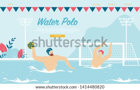 Water Polo Competition or Training with Sportsmen in Rubber Hats Playing with Ball in Swimming Pool. Sport, Healthy Lifestyle Activity, Championship Tournament Cartoon Flat Vector Illustration, Banner