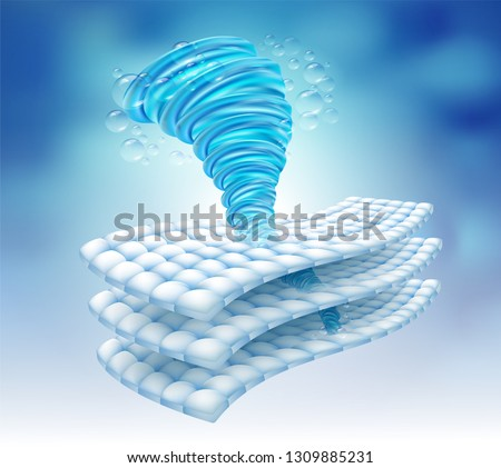Water power rotating in the fabric fiber. Remove deep stains up to 3 layers. Vector realistic file.