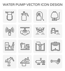 Water pump icon, water mist system. Consist of diaphragm pump, nozzle sprayer, sprinkler, centrifugal pump, water tank and solar panel etc. Used to spray liquid, humidity, fog, pesticide, fertilizer.