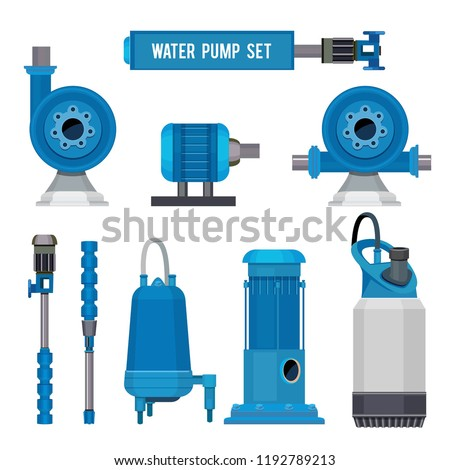 Water pumps. Industrial machinery electronic pump steel systems sewage aqua control station vector icons. Illustration of compressor pump, industrial engine motor