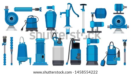 Water pumps. Iron electric motor systems pumps industrial pumping water or oil tanks vector pictures. Illustration of industry motor pump, oil petrol industrial