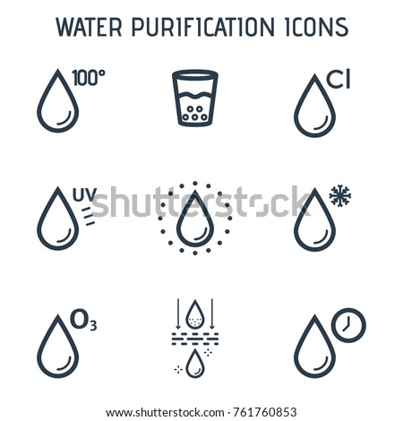 Water purification linear icons. Vector icons of various chemical and physical methods of water purification.