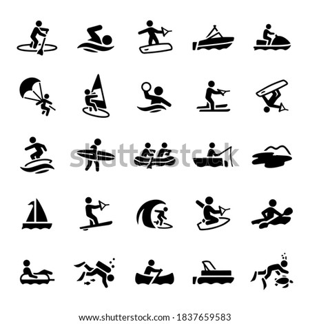 Water Recreation Icons stock illustration। paddleboarding, swimming, wakeboarding, boating, watercraft, parasailing, windsurfing, water polo, water skiing, wakesurfing, surfing, whit water rafting,  Stock foto ©
