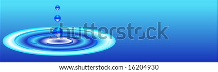 water ripples banner with drops