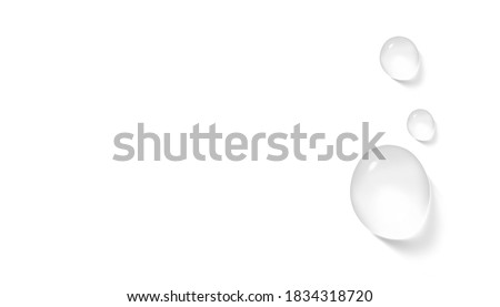 Water, serum or essence drops on white background horizontal banner format realistic vector illustration. Pure  transparent droplet. Moisturizer concept