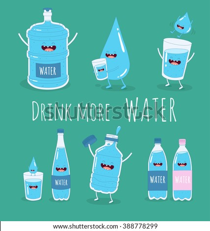 Water set. Funny big and small bottle of water, glass of water and drop water with the inscription drink more water. Vector illustration.