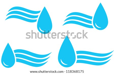 water set of blue sign with drop and wave
