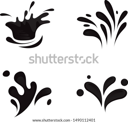 Water Splash And Drop Icons - Isolated On White Background. Flat Vector Illustration Of Water Splash and Drop Icons. Set For Pool Logo, Label, Sticker, Splash Template And Design Elements