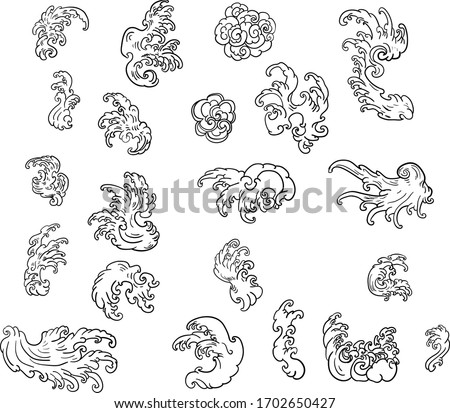 water splash and Japanese ocean for tattoo.Line Thai wave tattoo.Japanese wave vector set and thai style.Outline wave dawn from Line Thai style.Thai water wave isolate on white background.